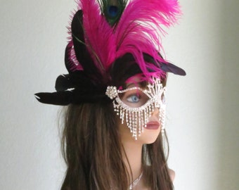 SALE Halloween Masquerade Feather Mask Ball Mask Costume Ball Halloween Costume Carnival Costume Party