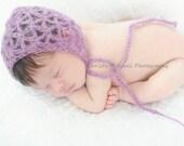 PATTERN Mohair Bonnet - Newborn - Crochet - Lacey