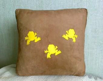 Frogs pillow, artificial suede pillow, brown pillow, dansing frogs, silhouette animals pillow