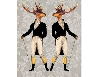 Victorian Deer, Deer Print, Antler, Stag, Deer Art, Deer Art Print, Deer Artwork, Wall Decor, Wall Art, Wall Hanging, Black, Animal Print