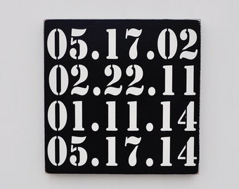 Important Date Art, Bridal Shower Gift, Wedding Gift, Anniversary gift, Engagement Gift, Custom Wood Sign