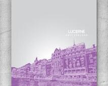 Lucerne Switzerland City Skyline Art / Travel City Art Poster / Modern Home Decor / Any City or Landmark