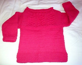 Toddler Hot Pink Guernsey Sweater