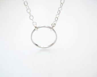 silver eternity necklace | delicate karma circle ring halo | dainty minimalist jewelry | gift for her | by Bracari