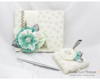 Wedding Lace Guest Book Pen Holder Set Custom Jeweled Bridal Flower Brooch Guest Books in Ivory and Mint with Handmade Flowers, Brooches