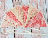 Pink Floral Rose Garden Fabric Banner- Bunting Banner- Wedding Banner- Garland- Decoration- Nursery Decor- Vintage Rose Banner- Photo Prop
