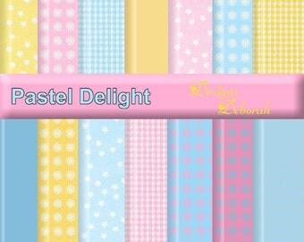 Pastel Delight - 15 Digital Scrapbook papers. 12x12 Inch. Printable backgrounds. Scrap 4 Hire Friendly. INSTANT DOWNLOAD