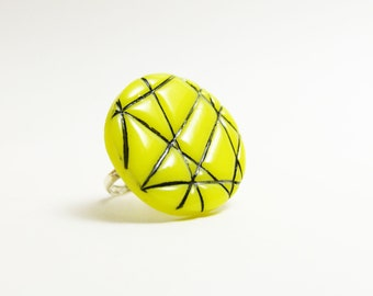 Neon yellow polymer clay ring