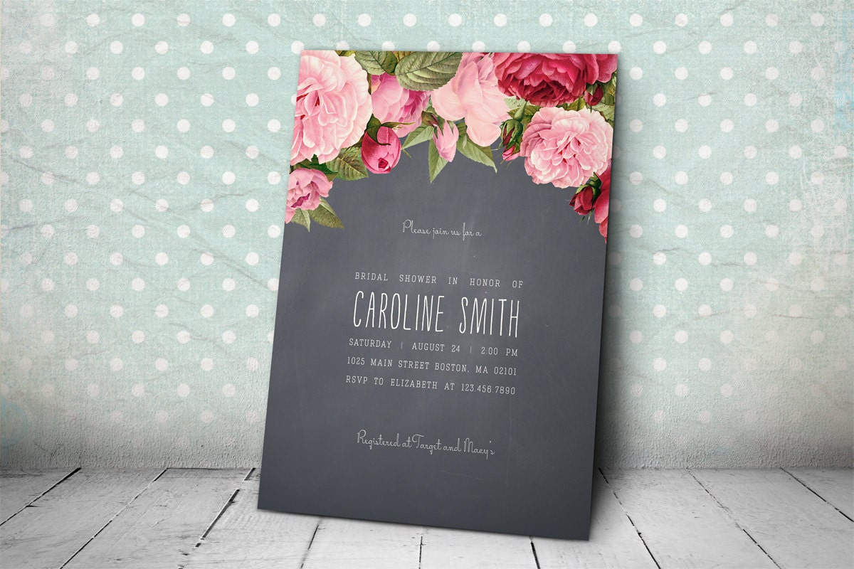 Printable Bridal Shower Invitation – Rustic Grey Paper Bridal Shower ...