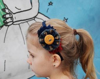 Navy Mustard Headband ,Mustard Rosette Burgundy Chiffon Flower Headband ,Hair Accessories