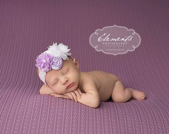 Light Purple White Flower Headband,Newborn Lilac White Headband,Chiffin Flower Tulle Baby Headband