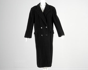 Vintage 80s Saks Fifth Avenue Black Cashmere Winter Coat Double Breasted Long Overcoat Large 14