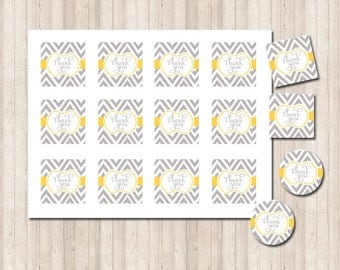 Printable Thank You Tags/Labels in chevron gray and yellow