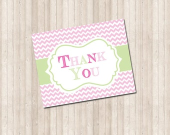 Thank You Card - Pink Chevron
