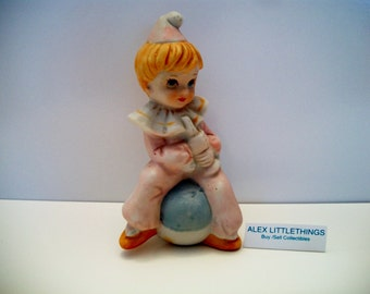 Vintage Girl Tumbler Clown Figurine Ball Horn