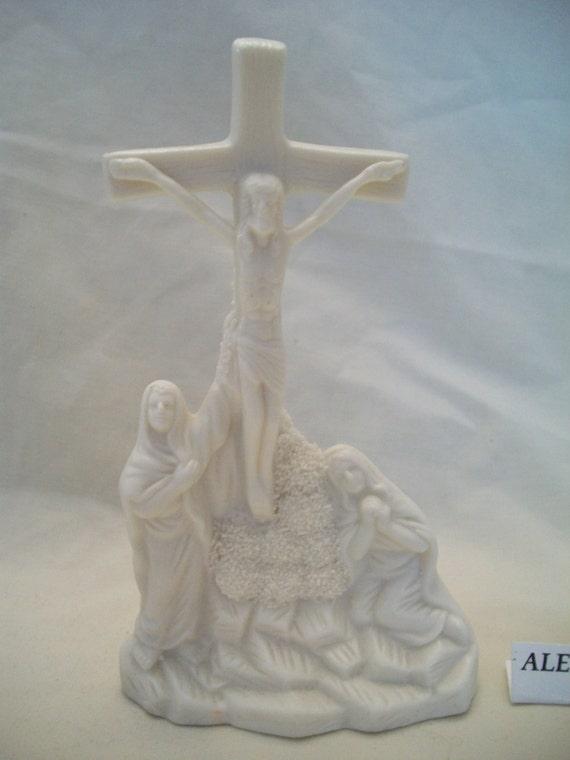 Vintage Crucifix Cross Porcelain Figurine Religious