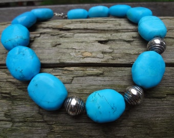 Chunky Bead Turquoise Necklace with Silver Beads and Chain 18""