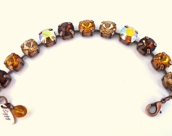Swarovski crystal tennis bracelet, GOLDEN HONEY, topaz combo, 11mm chunky, Siggy Jewelry