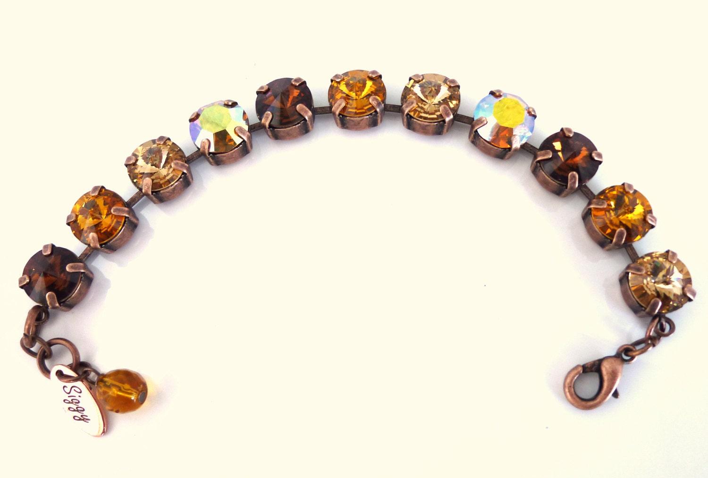 swarovski crystal tennis bracelet golden honey by siggyjewelry. Black Bedroom Furniture Sets. Home Design Ideas