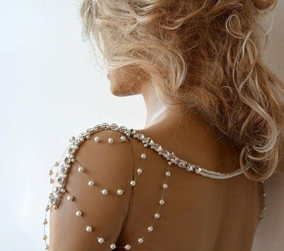 Wedding rhinestone jewelry wedding dress shoulder by adbrdal for Bracelet for wedding dress