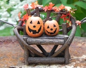 Fairy Garden miniature Twig Bench Halloween with jack-o-lanterns and fall leaf garland