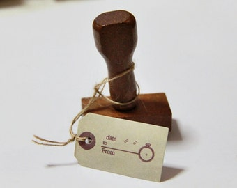 Hang Tag Design Wooden Vintage Style Rubber Stamp - Scrapbooking. Cardmaking. Tag Making. French theme (Design 6)