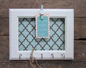 Key Holder Memo board Wall Hook Home Decor - White Frame Organization  5 Silver Hooks- House warming gift