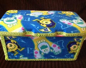 Custom Boutique Style Wipe Tub - Monster's U Fabric