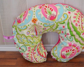 Kumari Garden Teja Pink/Multi and Pink Minky Boppy Pillow Cover