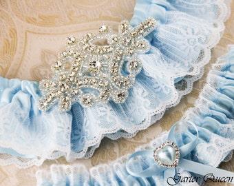 Blue Wedding Garter Set, Blue Garter Set, Bridal Garter, Blue Ribbon Garter, Rhinestone Garter, Crystal garter, Something Blue