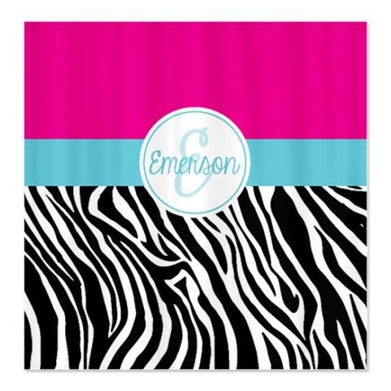 Hot Pink Zebra Bathroom Accessories: Custom Zebra Print Shower Curtain-Monogrammed Name-Hot Pink
