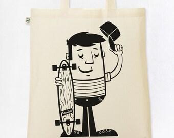 """Organic cotton tote bag """"Skaters"""" jute bag printing BIO Longboard"""