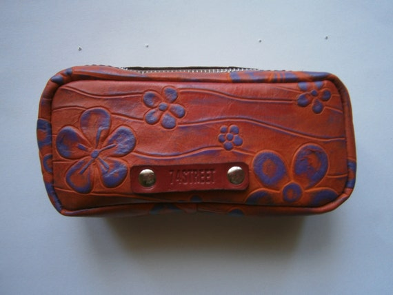 Cosmetic Pouch, Genuine Leather Cosmetic Pouch, Leather Neccessaire, Handmade Bag, Gift for Her