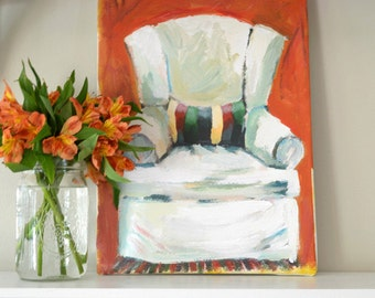 CANVAS ART PRINT of White Chair and Striped Pillow