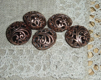 20 Pcs Alloy Beads, Flat Round, Red Copper, Size: about 17mm in diameter,