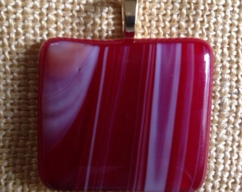 Red with white streaks fused glass pendant
