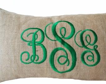 Burlap Monogram Pillows -Custom Lumbar Green Letter Monogram Pillow- Cursive Three Letters Monogram Pillow covers - Gift- Anniversary -12x20