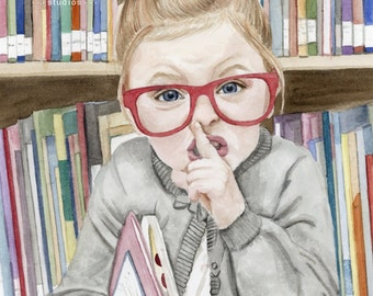 Librarian Girl, Watercolor Print, Painting Print, Girl shh, Library Decor, Girls Room Art, Librarian Gift, Librarian Painting, Library Art
