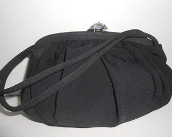 Black Evening Bag Vintage Black Purse 1950s