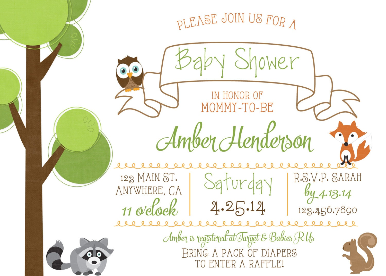 woodland creature baby shower invite