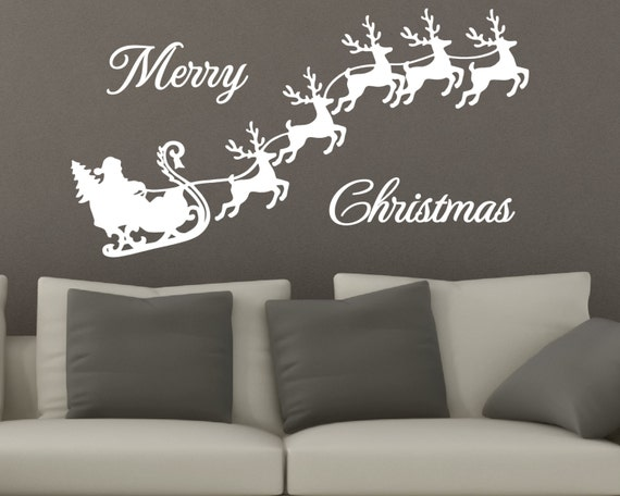 Christmas Decals - Santa Sleigh Decal - Holiday Decals - Christmas - Vinyl Decal - Decals - Christmas - Christmas Vinyl