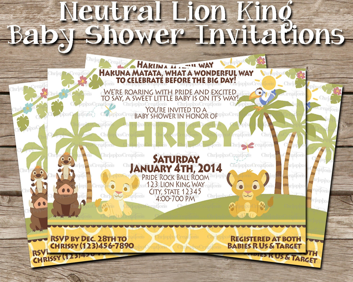 neutral lion king baby shower invitation by chrispixscreations