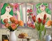 Portrait Painting of two nude women sisters girls Art Deco Still Life burlesque Ksavera JEANNE diptych mid century modern girlfriend cubist