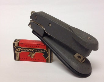 Vintage Office Arrow Stapler small Retro mid Century industrial Funk Textured metal
