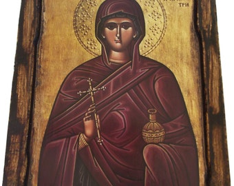 Saint St. Anastasia - Orthodox Byzantine icon on wood handmade (22.5 cm x 17 cm)