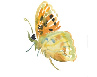 Butterfly 3  - Watercolor painting -  Animal Art - size  8x10inches  - Watercolor  Art- Nursery Art Print