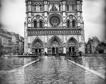 """Black and White Photography - Notre Dame in the rain,  Paris photography, Paris prints, Notre Dame wall art, Europe, romantic - """"Notre Noir"""""""