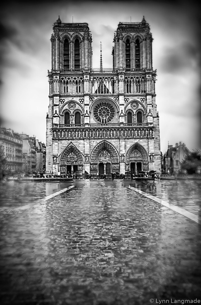 Black and White Photography Notre Dame in the rain Paris