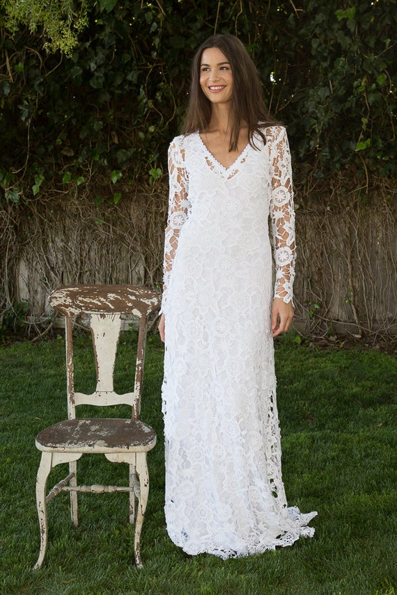 Boho Lace Wedding Dress Etsy : Bohemian wedding dress crochet lace long sleeve boho