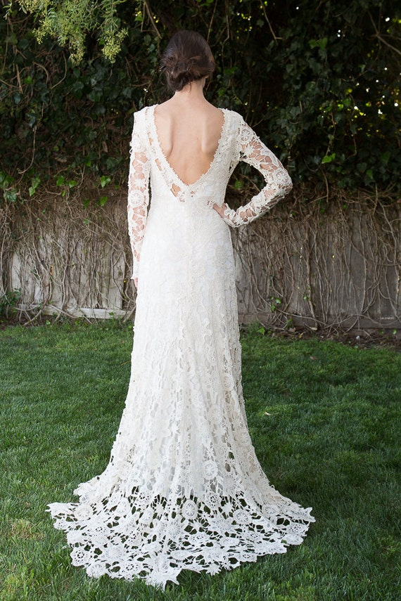 Hippie Boho Wedding Dress With Train Low Back Bohemian Wedding